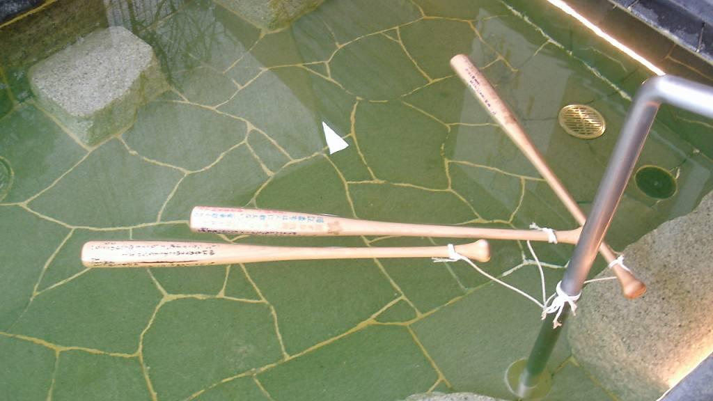 Die von der Polizei in Toyokawa herausgegebene Aufnahme zeigt drei in einem Becken schwimmende Basballschläger.