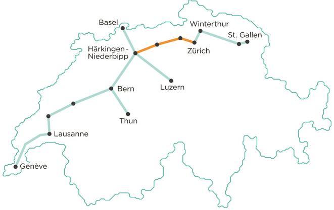 Das geplante Netz von Cargo Sous Terrain.