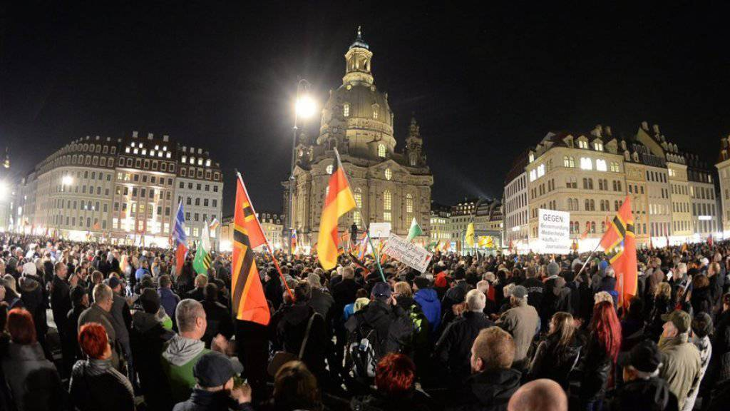 Pegida-Kundgebung am Montagabend in Dresden.