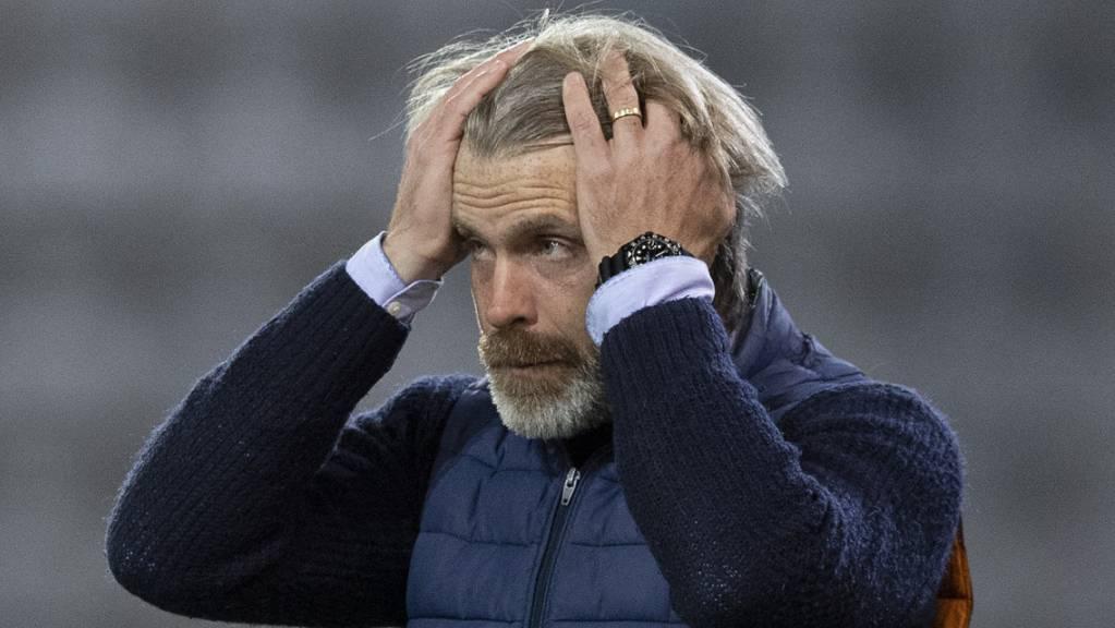 Aaraus Trainer Stephan Keller ärgert sich nur kurz. (Archivbild)