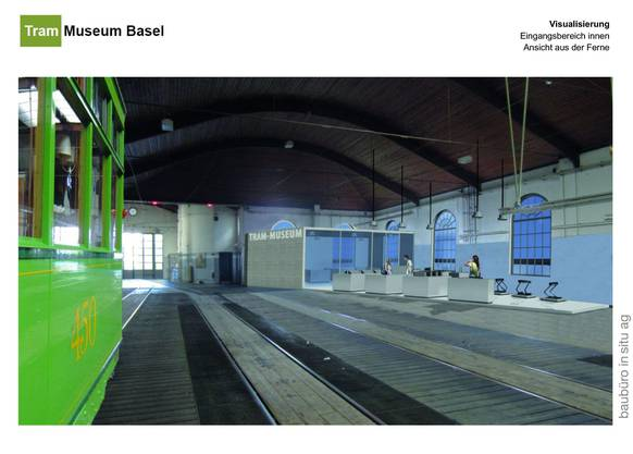 Geplant sind ein Museumsshop, sanitäre Anlagen, Notausgänge und ein Eingangsbereich.