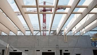 Auf der Baustelle der neuen Turnhalle in Bergdietikon