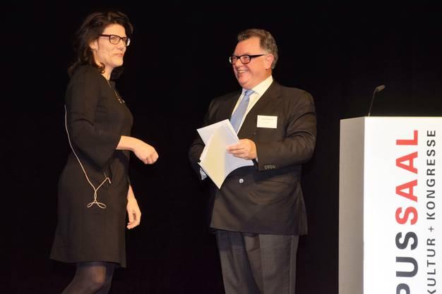 Neujahrsempfang für Unternehmerinnen und Unternehmer im Campussaal Brugg-Windisch; Barbara Horlacher, Stadtammann Brugg undReto Francioni, Verwaltungsratspräsident Swiss und ehemaliger CEO der Deutschen Börse