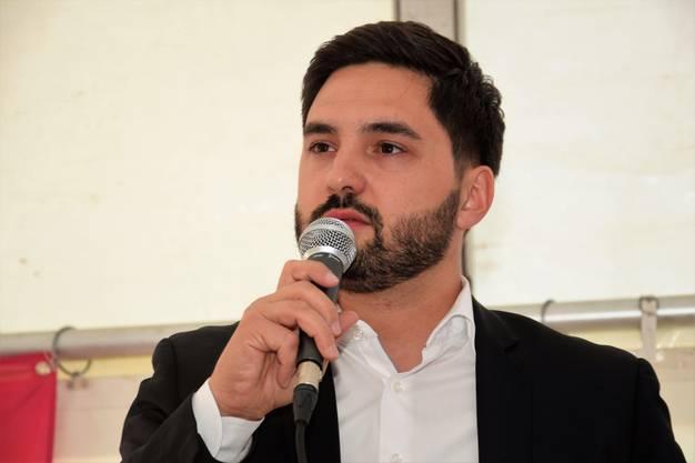 1.-Mai-Feier auf dem Neumarktplatz in Brugg;Cédric Wermuth, Nationalrat und Ständeratskandidat der SP.
