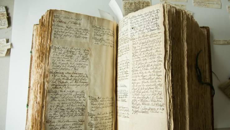 """Das """"Deutsche Glossar"""" von Johann Jakob Spreng besteht aus gegen 100'000 handschriftlichen Zetteln. Nun wird das Werk erstmals der Öffentlichkeit zugänglich gemacht."""