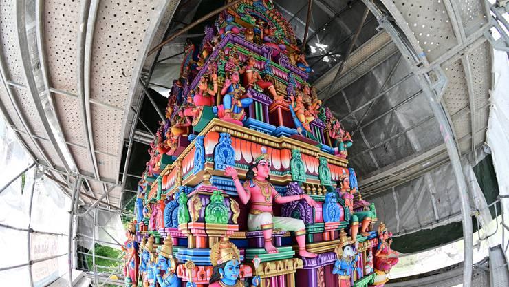Der Turm ist fertig – sechs Jahre nach der feierlichen Eröffnung des Trimbacher Hindu-Tempels.