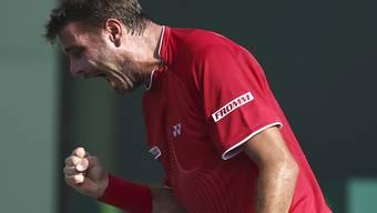 Stansilas Wawrinka zeigte Emotionen im Match gegen Edouard Roger-Vasselin.