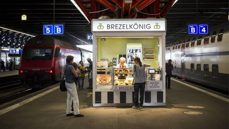 Brezelkönig-Verkaufsstand am Bahnhof Winterthur.