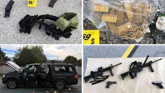 Beweisstücke eines Verbrechens: Waffen, Ausrüstung und Munition, die beim Anschlag verwendet wurden. Unten links: Das zerschossene Auto von Syed Rizwan Farook und seiner Frau Tashfeen Malik.