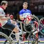 Die Schweizer Radball-Gebrüder Waibel, hier im Spiel gegen Frankreich, verpassten die Medaillen knapp.