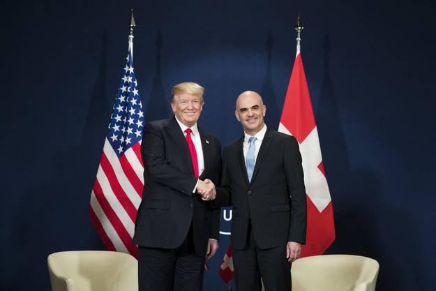 Donald Trump und Alain Berset am WEF in Davos 2018
