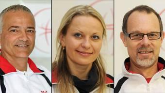 Sie stehen den einzelnen Bereichen als Cheftrainer/in vor. Von links: Athanasios «Sakis» Banousis (Kunstturnen Frauen), Svetlana Ihnatovich (Trampolin) und Rolf Müller (Kunstturnen Männer).