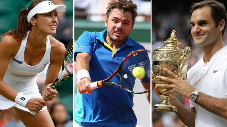 Martina Hingis, Stan Wawrinka und Roger Federer haben die Schweiz zu einer Tennisnation gemacht. Federer hat in Wimbledon soeben einige Rekorde geknackt oder ausgebaut. Klicken Sie sich durch die Bildergalerie.