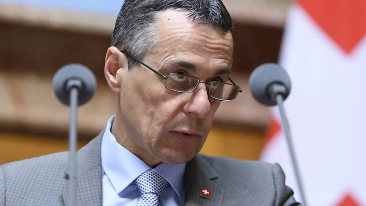 """Was Bundesrat Ignazio Cassis im März zu den flankierenden Massnahmen gesagt hat, soll auch weiterhin gelten: """"Der Bundesrat hat diese roten Linien bestätigt."""" (Archiv)"""
