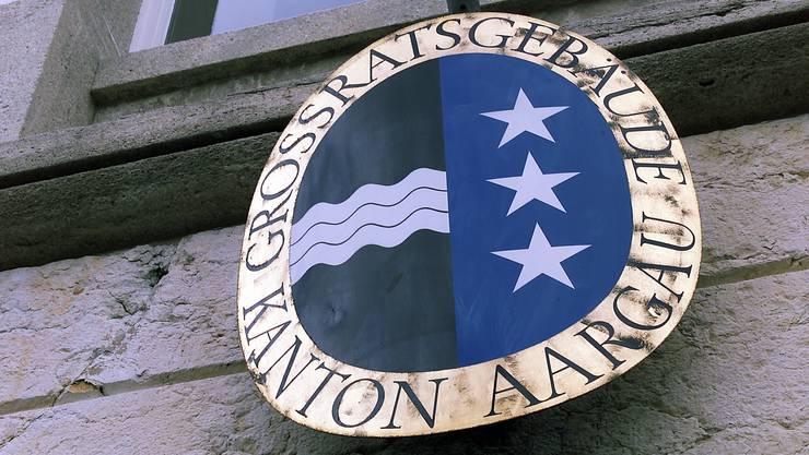 Das Aargauer Wappen am Grossratsgebäude in Aarau.