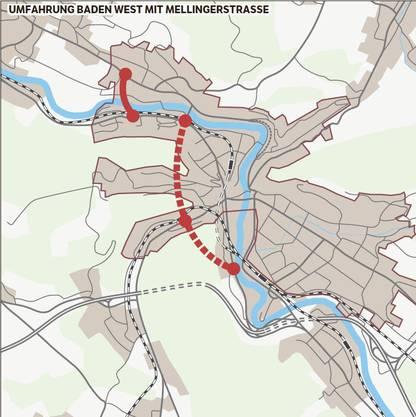 Auch diese Variante stand schon zur Debatte: Der Verkehr wird ab Siggenthaler Brücke über einen Tunnel durch den Martinsberg und den Hundsbuck zur Mellingerstrasse und dann durch den Kreuzliberg der Neuenhoferstrasse zugeleitet; als Untervariante ohne Anschluss Mellingerstrasse. Zur Entlastung von Nussbaumen würde eine Spange über die Limmat in Betracht gezogen. Auch hier gibt es mehrere Untervarianten.