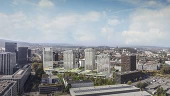 Vier neue Türme sollen bis 2021 in Zürich Oerlikon zwischen der Leutschenbach- und Hagenholzstrasse gebaut werden.