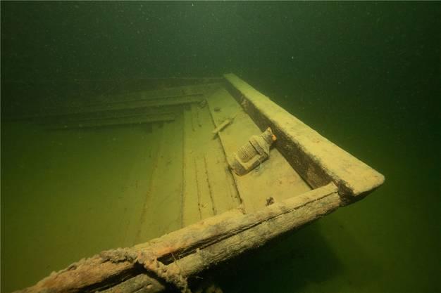 Fast leerer Laderaum – beim Sinken verlor das Schiff rund 90 Tonnen Sand.
