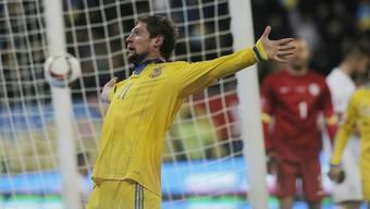 Jewhen Selesnjow jubelt nach seinem Tor zum 2:0 gegen Slowenien