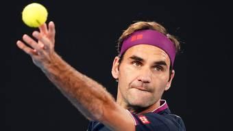 Federer beim Aufschlag. Wird ihm dieser den Sieg gegen Fucsovics bringen?