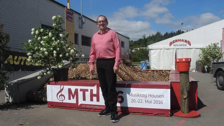 Mit Stolz lädt der OK-Präsident André Keller zum Aargauischen Musiktag Hausen ein. Das Fest dauert bis Sonntagabend.
