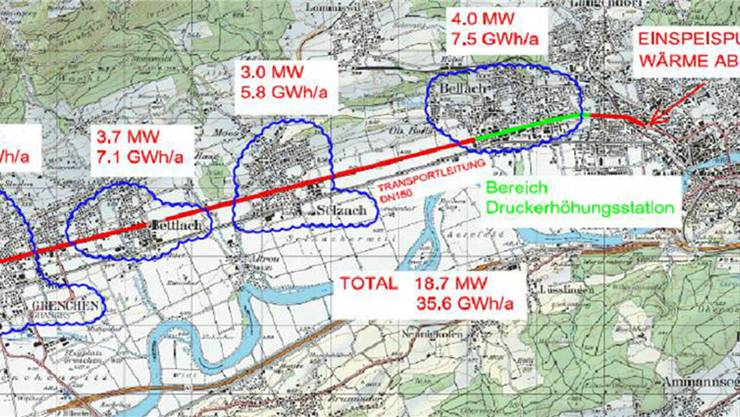 Die Karte zeigt die errechnete Leistung, welche die Kebag laut Studie liefern soll, sowie die Transportleitung entlang der T5. zvg