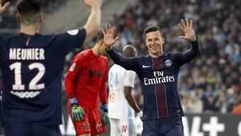 Julian Draxler (23) feiert ein weiteres Goal von PSG in Marseille