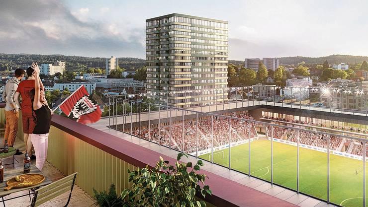 Für gegen eine halbe Milliarde Franken sollen ein Stadion und vier Hochhäuser gebaut werden.