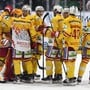 In Jubelstimmung: Der EHC Biel steht nach einem 4:1-Sieg in Freiburg wieder an der Spitze der National League