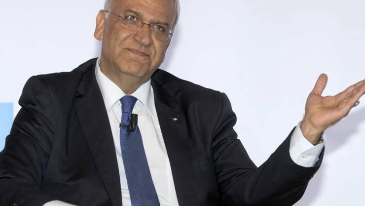 ARCHIV - Der palästinensische Chefunterhändler Saeb Ereka nimmt an einer Konferenz teil. Foto: Claudio Peri/ANSA/dpa