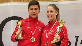 Kevin Wagner und Ramona Brüderlin mit ihren Pokalen in Salzburg.