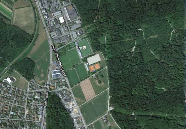 """Der Tatort im Fislisbacher Waldstück """"Rüsler"""" liegt zirka 150 Meter von der Sportanlage Esp entfernt."""