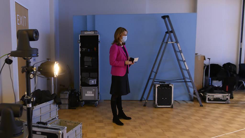 FDP Parteipräsidentin Petra Gössi an der digitalen Delegiertenversammlung ihrer Partei.
