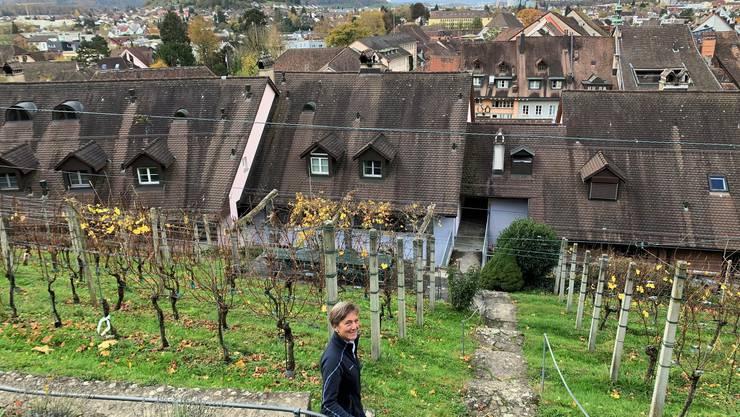 Monica Stauffer in ihrem Rebberg oberhalb von Lenzburg.