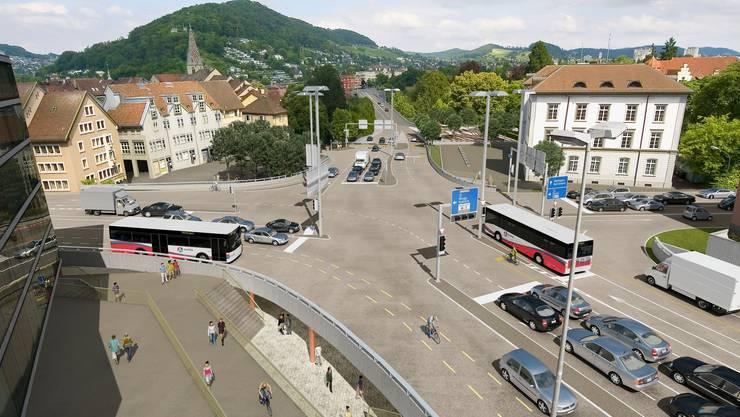 So soll der Verkehrsknoten Schulhausplatz in Baden aussehen