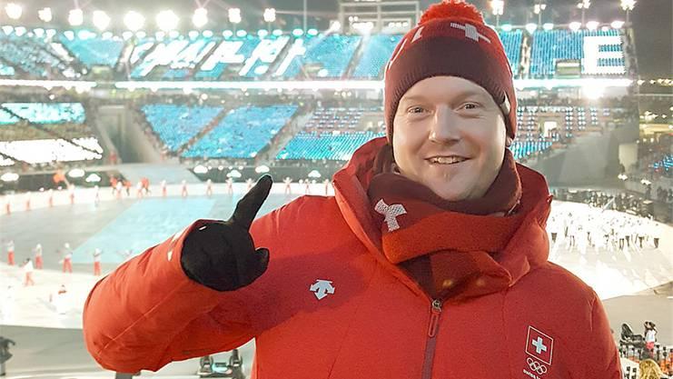 Von der Eröffnungsfeier der Olympischen Winterspiele zeigte sich Rico Peter trotz klirrender Kälte enorm beeindruckt.