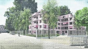 An Stelle der Villa Breitenegg  ist ein viergeschossiges Haus mit  30 Wohnungen geplant.