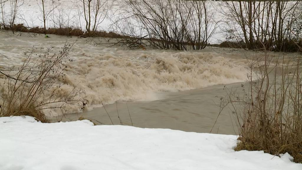 Hier rauscht die Töss - noch knapp unter dem Hochwasserpegel