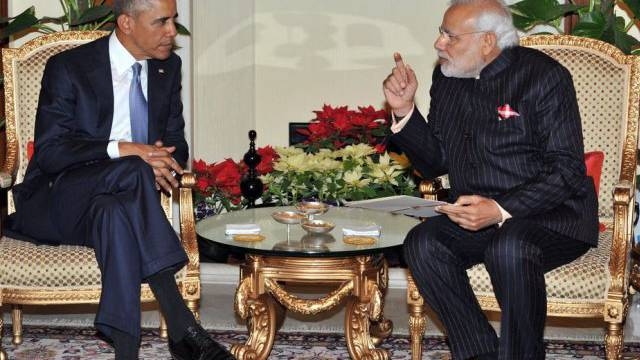 Präsident Obama (l) und Premier Narendra Modi bei den Gesprächen