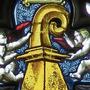 Der goldene Baslerstab in der Leonhardskirche.
