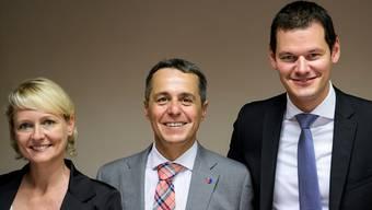 Isabelle Moret, Ignazio Cassis (Mitte) und Pierre Maudet buhlen um den frei werdenden Bundesratssitz.