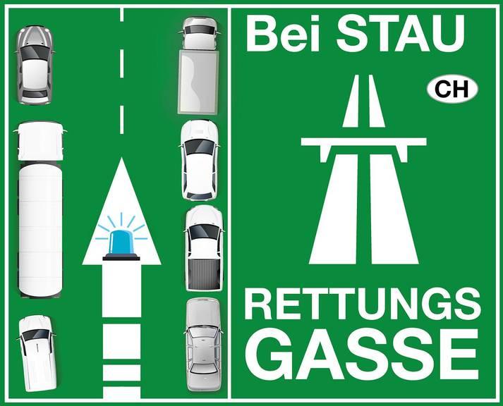 Mit solchen Stickern sollen Verkehrsteilnehmer u.a. auf die richtige Bildung einer Rettungsgasse informiert werden. Bild: Helfen helfen 2017