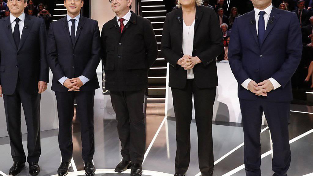 TV-Debatte vor den Wahlen in Frankreich: François Fillon, Emmanuel Macron, Jean-Luc Mélenchon, Marine Le Pen und Benoît Hamon diskutierten auf TF1.
