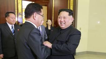 Die staatliche nordkoreanische Nachrichtenagentur hat dieses Bild des Treffens zwischen Kim Jong Un und der Delegation aus Südkorea veröffentlicht.