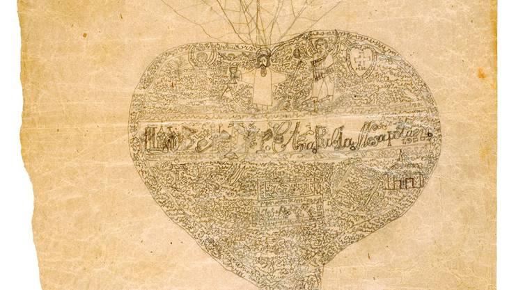 Gott und die Welt in einem Radieschen, gezeichnet von Ulrich Engler (1896–1951), aus der Sammlung von Hermann Rorschach.