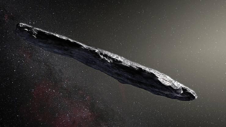"""Eine Visualisierung des Asteroiden """"Oumuamua"""", der aus einem fremden Sonnensystem stammt. Forscher haben mit der Belauschung des Himmelskörpers begonnen. (Archiv)"""
