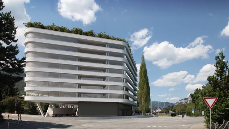 """Ein Projekt für die Zukunft: Der 30 Meter hohe """"Gewerbetower"""" in Oensingen."""