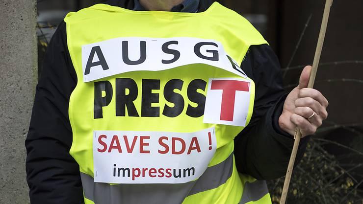 Teilnehmer des Warnstreiks der sda-Redaktion am Dienstag, 23. Januar.