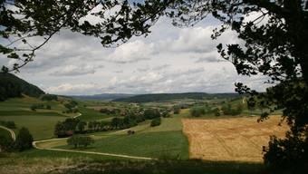 Welch wunderschöne Landschaft! Blickrichtung Nordwesten über Hottwil ins Mettauertal. Peter Belart