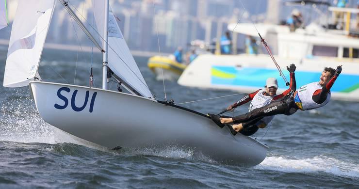 Die Segler Yannick Brauchli und Romuald Hausser beendeten ihr Pensum in der Klasse 470 mit einer vorzüglichen Leistung